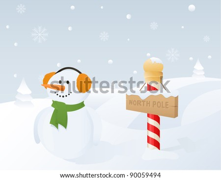 North Pole (Snowman) - stock vector