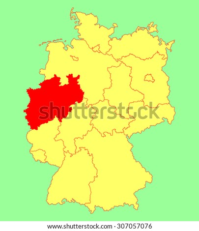 North Rhine-Westphalia state map, Germany, vector map silhouette illustration isolated on Germany map. Editable blank vector map of Germany. Province in Germany. - stock vector