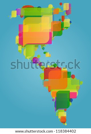 North, south and central America continent world map made of colorful speech bubbles concept illustration background vector - stock vector