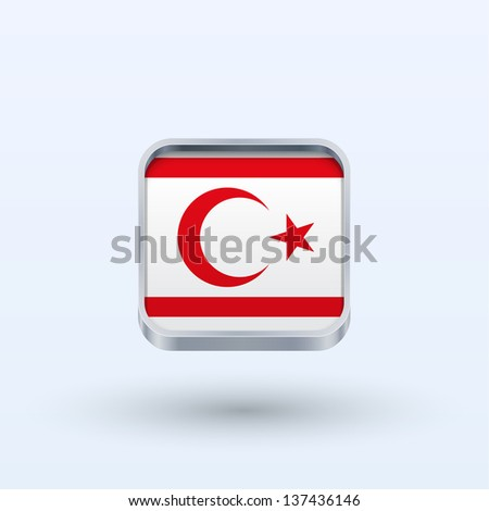 Northern Cyprus flag icon square form on gray background. Vector illustration. - stock vector