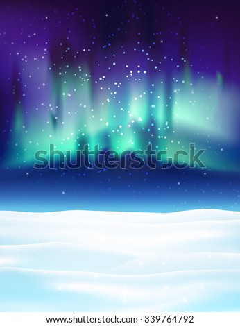 Northern lights background vector illustration. Winter backdrop with snow. - stock vector