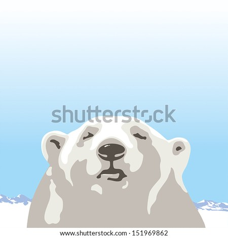 Northern polar bear - stock vector