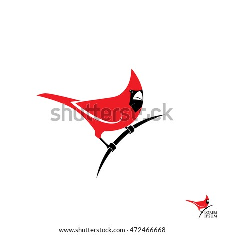 Northern Red Cardinal Bird Sign Vector Stock Vector 472466668