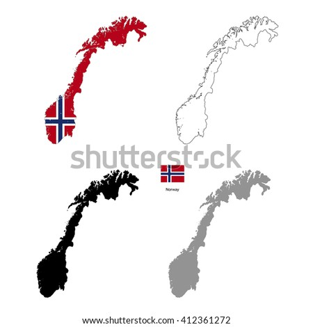 Norway country black silhouette and with flag on background, isolated on white - stock vector