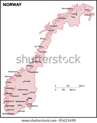 Norway Map Vector Stock Images RoyaltyFree Images Vectors - Norway map vector countries