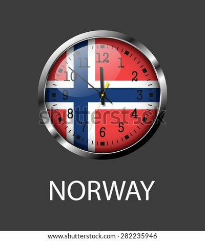 Norway flag on clock face - vector icon