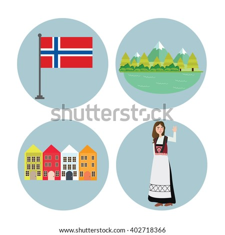 Norway icon Norwegian flag mountain building and girls in traditional costume clothes - stock vector