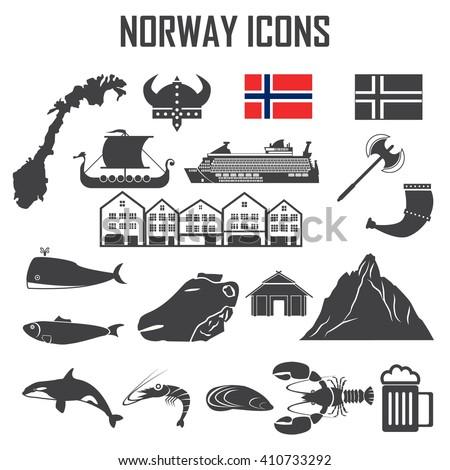norway icon set. - stock vector