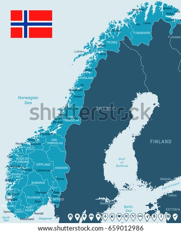 Norway Administrative Map Stock Vector Shutterstock - Norway map detailed
