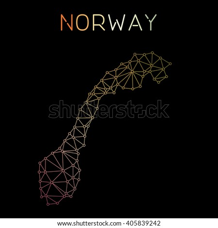Norway network map. Abstract polygonal Norway network map design. Map of Norway network connections. Vector illustration. - stock vector