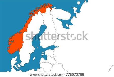 Norway On Europe Map Vector Illustration Stock Vector - Where is norway on a map