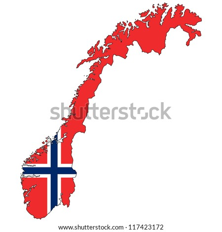 Norway vector map with the flag inside. - stock vector