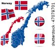 Norway vector set. Detailed country shape with region borders, flags and icons isolated on white background. - stock photo
