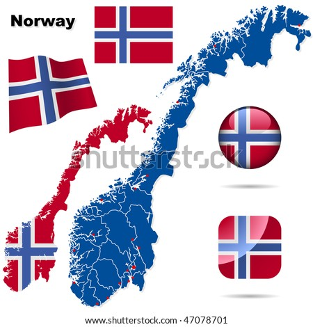 Norway vector set. Detailed country shape with region borders, flags and icons isolated on white background. - stock vector