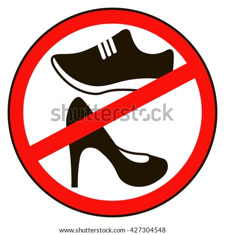 Not Allowed Shoe Sign Warning No Stock Photo Photo Vector
