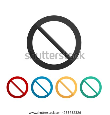 Not Allowed Sign - vector icon, flat design - stock vector