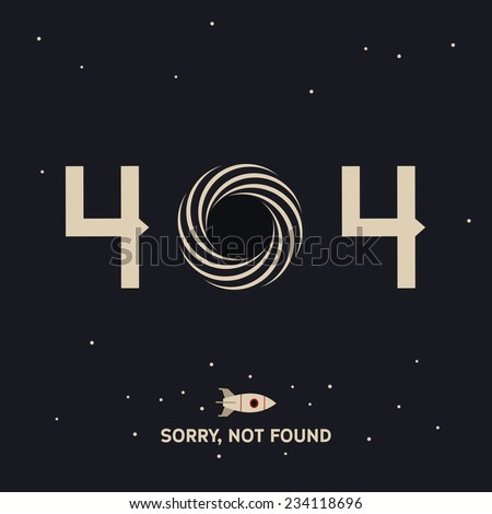 Not found page with black hole in space - stock vector