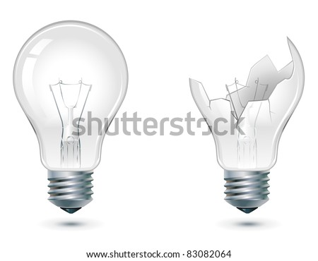 not glowing and broken down light bulbs - stock vector