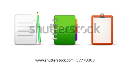 note address book icon set isolated on white background