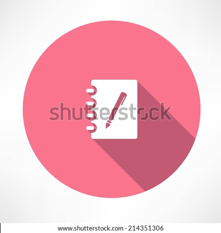 Note and Pen icon - stock vector