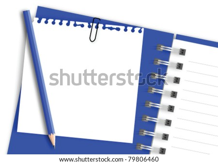 Note and pencil on blue notebook collection - stock vector