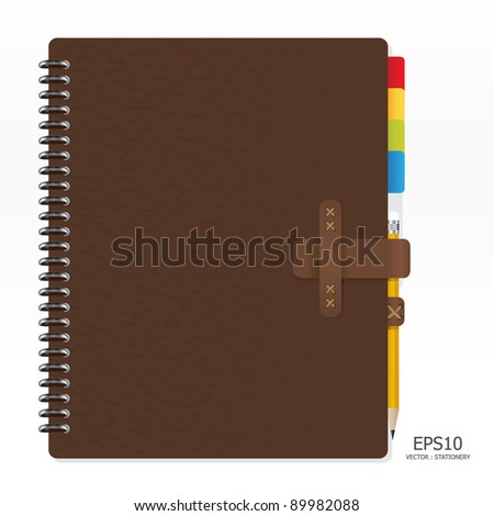 note book with pencil vector - stock vector