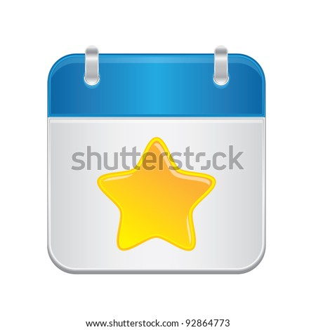Note book with shiny yellow star, web application icons, vector illustration