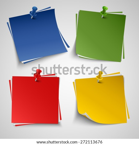 Note color paper with push colored pin template