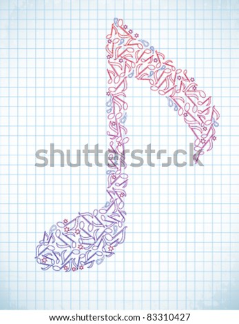 Note from color notes - stock vector
