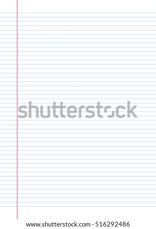Note Line Paper. Vector, Illustration of Notebook Line Paper Sheet.