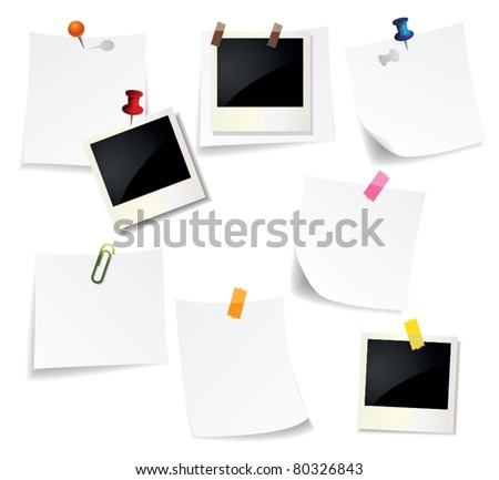 Note Pad and Photo - stock vector