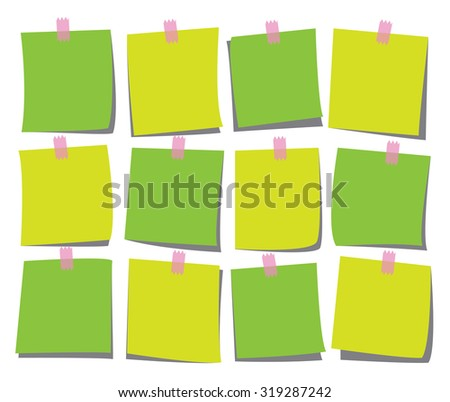 note page set for notice, remind, message, illustration, vector
