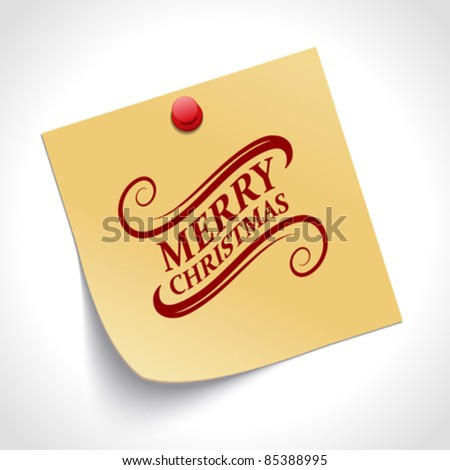 Note paper and Merry Christmas message with push pin vector illustration. Eps 10.
