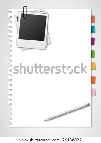 note paper and photo frame - stock vector