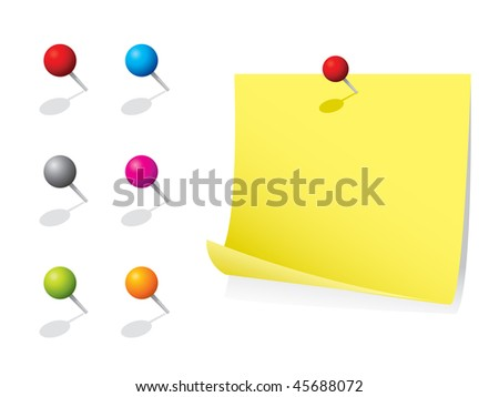 Note paper and pins - stock vector
