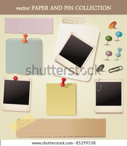 Note paper and pins set. Vector - stock vector