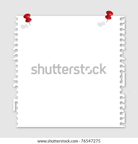 Note paper and red pins - stock vector