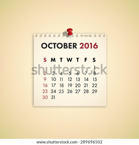 Note Paper Calendar Vector October 2016 - stock vector