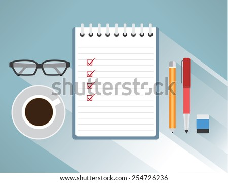 Note paper check with a eyeglasses, pencils, pens, erasers, coffee, business concept, vector - stock vector