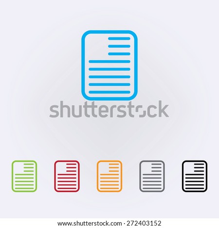 Note paper icons , color . Vector illustration - stock vector