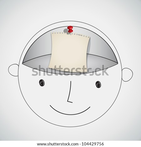 Note Paper in Blank Brain Room Concept Vector - stock vector