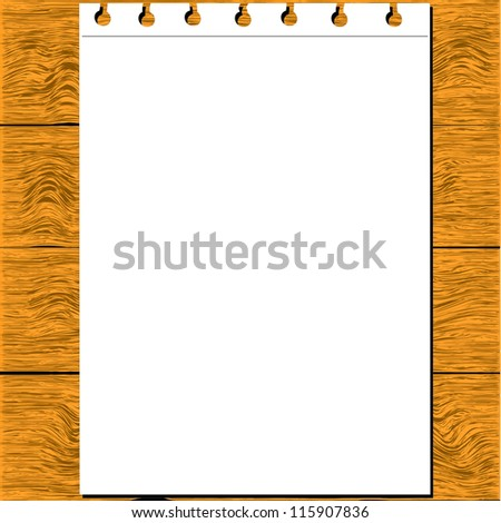 Note Paper  isolated on wood - stock vector