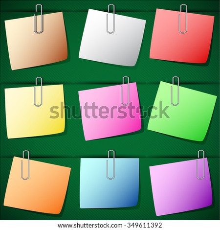 Note Paper pinched by paperclip on the board. - stock vector