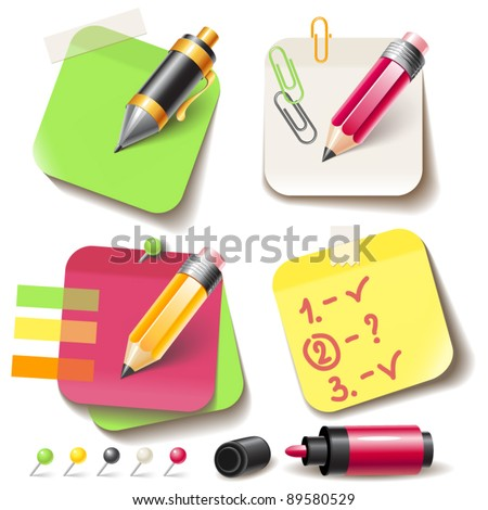Note paper post with pencil - stock vector