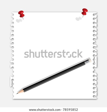 Note paper red pin and pencil - stock vector