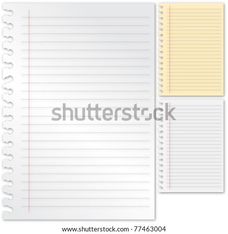 Note Paper set - stock vector