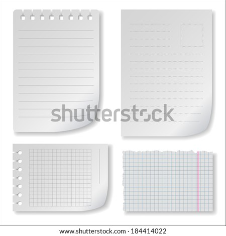 Note paper set with ragged squared and lined notepad pages - stock vector