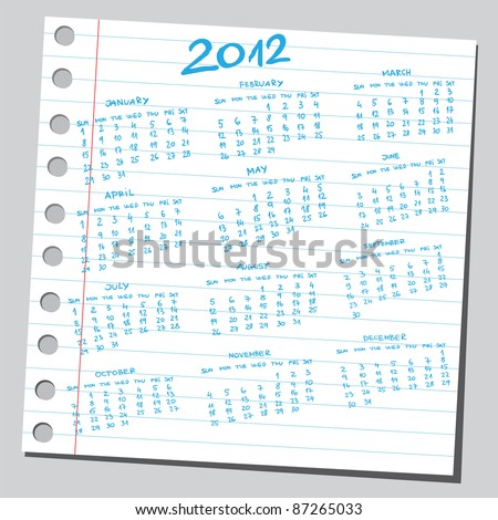 Note paper sketch of a 2012 year  calendar - stock vector