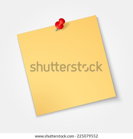 Note paper,sticker  with red pin isolated on a white background - stock vector