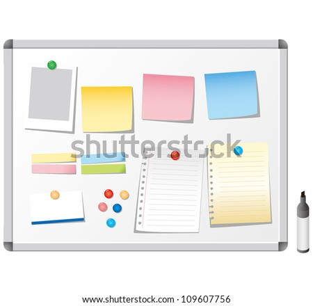 note paper whiteboard - stock vector